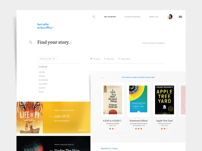 Best Seller to Box Office ui ux books library cinema movies films app flat webdesign research startup