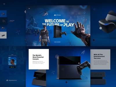 Playstation 4™ redesign gamer gaming webdesign ui webgl 3d 360 interactive immersive playstation ps4