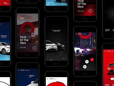 Toyota - Art direction technology ios interactive interaction design configurator branding toyota automotive automobile car flat design mobile app ux ui