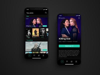 #025 TV app cyan dark mode movies movie app app design tv app