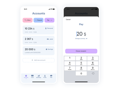 Create new payment light blue product design create new light colors financial app banking app transfer money app design app ui