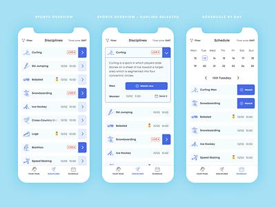 Olympics sport timetable list schedule blue cyan uxdesign mobile app design ui app