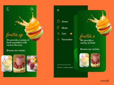 Fruttie Ng Home Screen food fruits smoothie mobile ui design