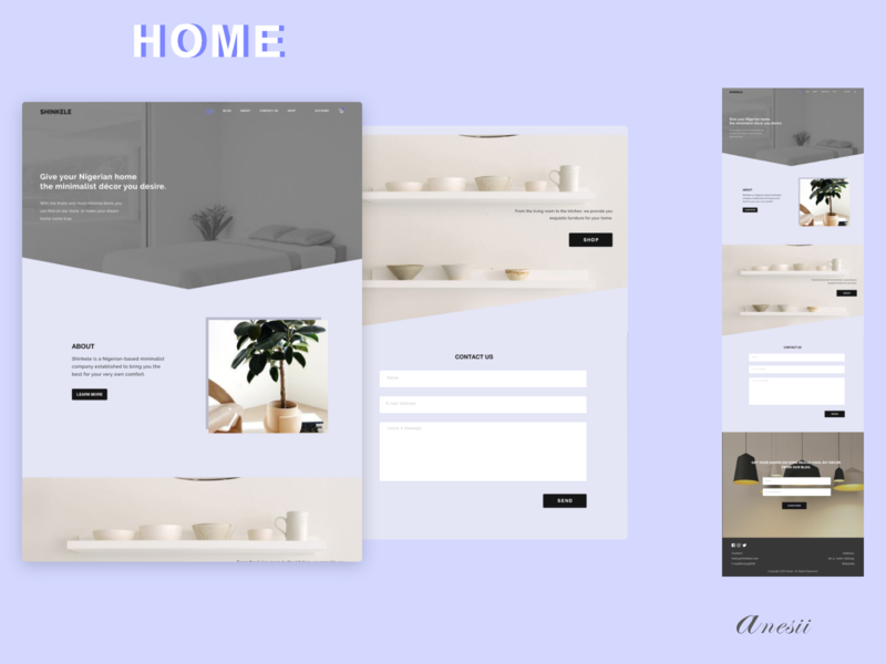 Shinkele Home Page home decor minimal website design minimal website minimalistic minimalist minimalism design
