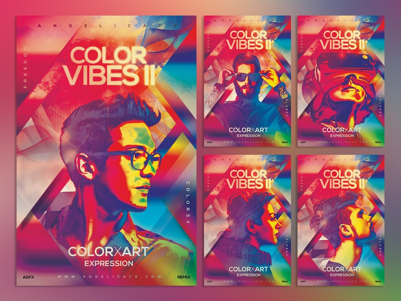 Color Vibes II Photoshop Flyer Template aesthetic chill duotone digital iridescent glitch colors design holi festival illustration summer abstract art poster design holi flyer illustration art music festival photoshop template graphic design colors