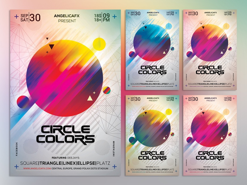 Circle Colors Photoshop Flyer Template duo tone duotone iridescent flyer fashion aesthetic rainbow illustration art poster design summer holi festival abstract art illustration music festival photoshop template graphic design colors