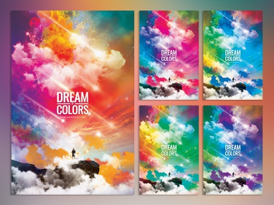 DREAM OF COLORS PHOTOSHOP FLYER POSTER TEMPLATE neon aesthetic poster artwork rainbow design colors illustration holi festival music festival photoshop template abstract art graphic design