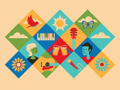 summer festival poster // WIP festival music summer poster design vector illustration design