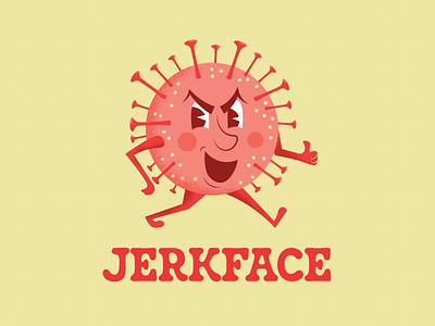 jerkface quarantine retro character design coronavirus typography vector illustration design