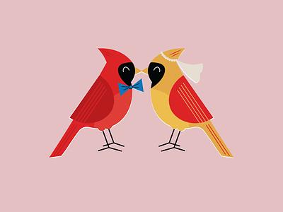 Love Birds // WIP cardinal wedding birds poster design vector illustration design