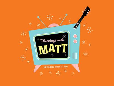 Logo for morning music show for kids graphic design retro guitar music logo vector illustration design