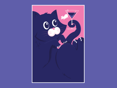 The mouse tells the cat that he is not a garnish. postcard cute martini mouse cats animals vector illustration design