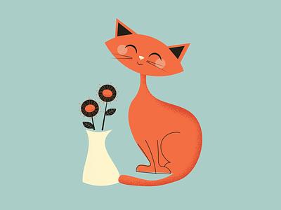 Mid-Century Cat digital art illustrator flower cat mid century vector illustration design
