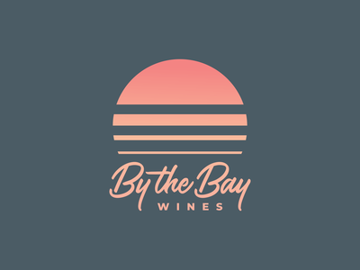 By The Bay logo design winelabel wine logo wine ocean branding logo vector illustration design