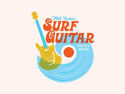 Surf Guitar Happy Hour Logo wave music guitar surf typography logo vector illustration design