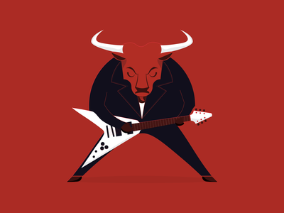Year of the Metal Ox guitar chinese new year ox metal vector illustration design