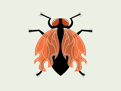 """Fire"" Fly conceptual drawing insect fly fire vector illustration design"