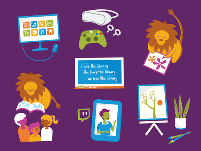 Library Illustrations tech education crafts twitch reading library lion icon vector illustration design