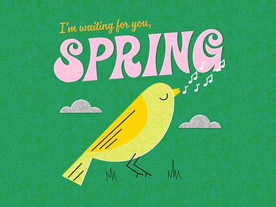 Spring vintage retro halftones spring bird typography vector illustration design