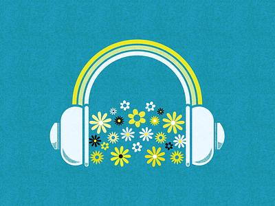 Headphones spring flowers headphones music album artwork vector illustration design