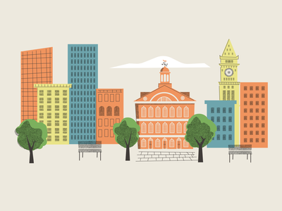 Boston, in progress city buildings boston vector illustration design