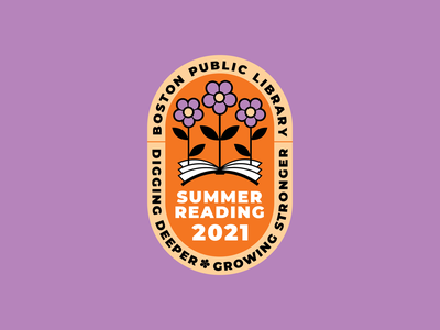 Boston Public Library Summer Reading Logo 2021 flowers books library summer typography logo vector illustration design