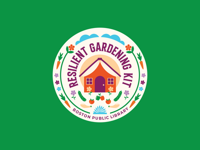 Boston Public Library Resilient Gardening Kit Logo 2021 vegetables house books flowers gardening library typography logo vector illustration design