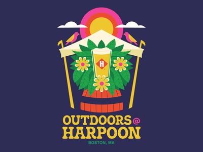Outdoors @ Harpoon Signage - Harpoon Brewery, Boston, MA flowers plants outdoors brewery beer typography poster design vector illustration design
