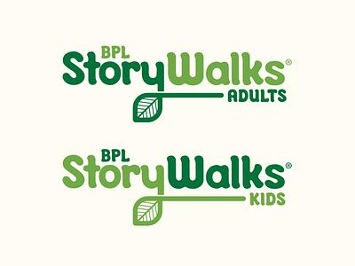 Boston Public Library StoryWalks Logo leaf nature library typography logo vector illustration design