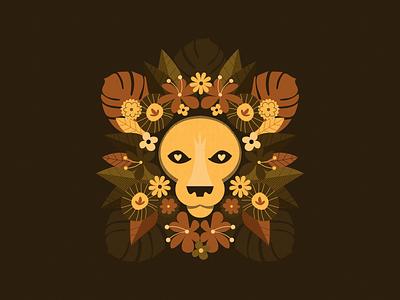 Floral Lion animal illustration lion gig poster poster design vector illustration design