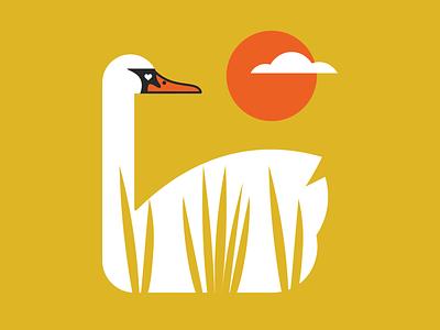 swan drawing bird swan gig poster poster design vector illustration design