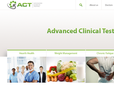 Advanced Clinical Testing pitch website layout interface