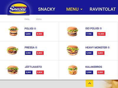 Snacky Menu web design pitch