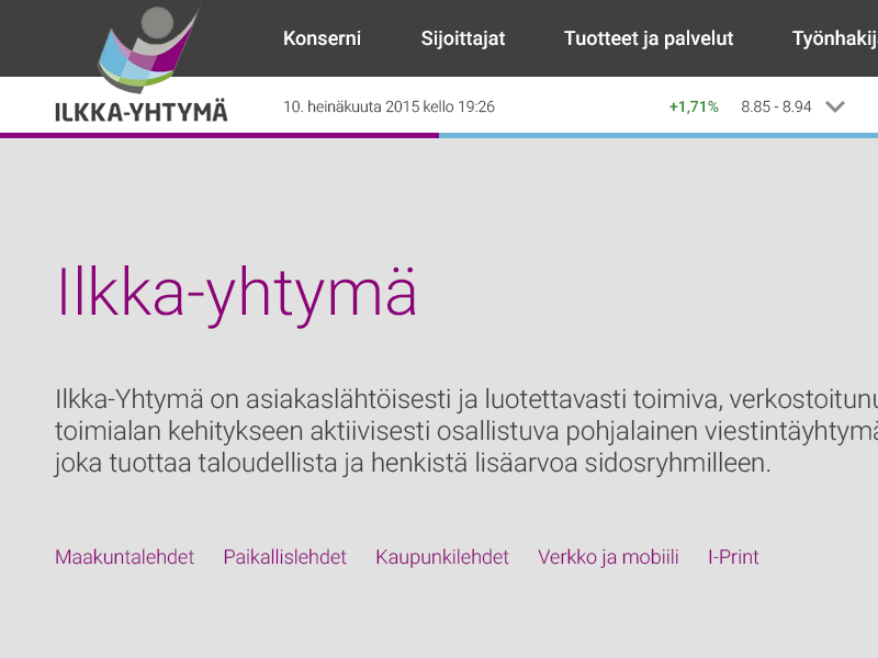 Ilkka-Yhtymä Oyj (Pitch) webdesign web ui pitch design