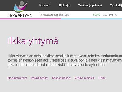 Ilkka-Yhtymä Oyj (Pitch) webdesign web ui pitch design