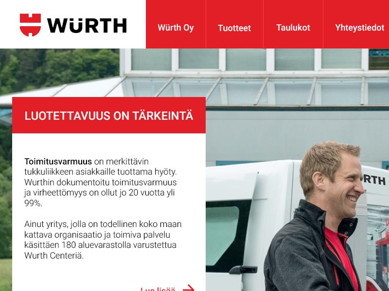 Würth Logistics pitch design web