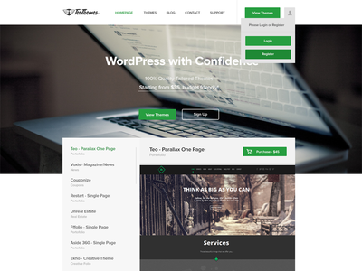 TeoThemes homepage green wordpress flat awesome