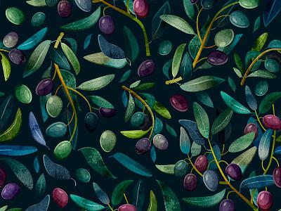 Olive textile fabric flower botanical pattern print design art watercolor illustration