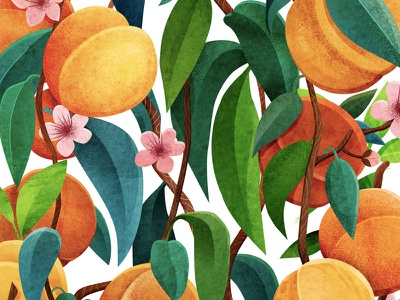 Peach nature food fabric botanical flower plant pattern print design illustrator illustration