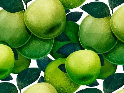 Apple pattern texture illustrator textile fabric botanical apple branding pattern print art watercolor illustration
