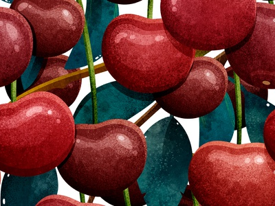 Cherry pattern botanical pattern texture textile print art design illustrator watercolor illustration