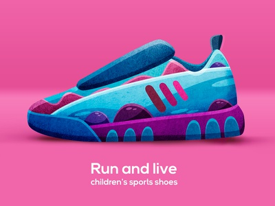 RUN AND LIVE. Shoes concept. shoes sport run sneakers branding textile texture pattern print art design watercolor illustration