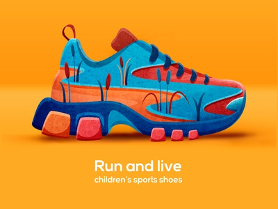RUN AND LIVE. Shoes concept. pattern watercolor texture branding print art design illustration sneakers sneaker run sport shoes