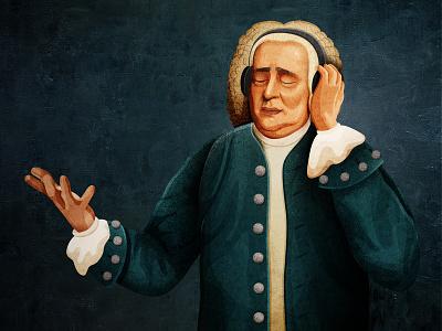 Johann Sebastian Bach photoshop man illustration texture person book character print design illustrator composer portrait