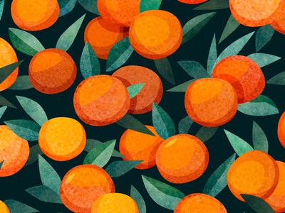 Tangerines pattern orange tangerine textile texture print fruit art pattern illustration