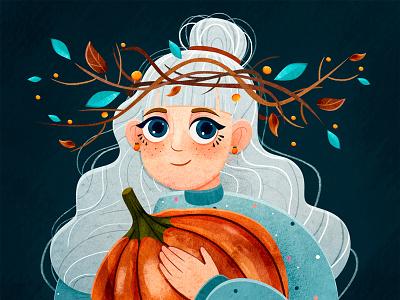 DRAWINYOURSTYLE pumpkin autumn woman girl face person design watercolor art character illustrator illustration