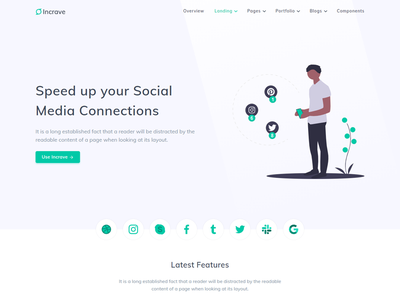 Social media Marketing - Incrave enterprise design branding startup social sass portfolio multipurpose modern minimal marketing job html creative clean business bootstrap blog