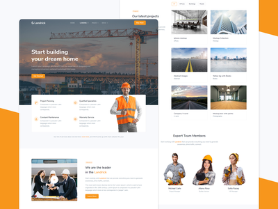 Construction Landing - Landrick marketing branding design under construction responsive renovation page builder landscaping industry handyman engineering corporate contractor construction company business building architecture