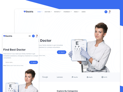 Doctris - Doctor Appointment Booking System design landing admin admin design doctors pharmacy medical appointment hospital healthcare doctor dashboard clinic booking management appointment scheduling appointment dashboard admin panel admin dashboard