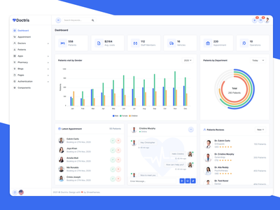 Doctris - Admin & Appointment Booking System agency bootstrap admin template admin pharmacy medical appointment hospital healthcare doctor dashboard clinic booking management appointment scheduling appointment dashboard admin panel admin dashboard